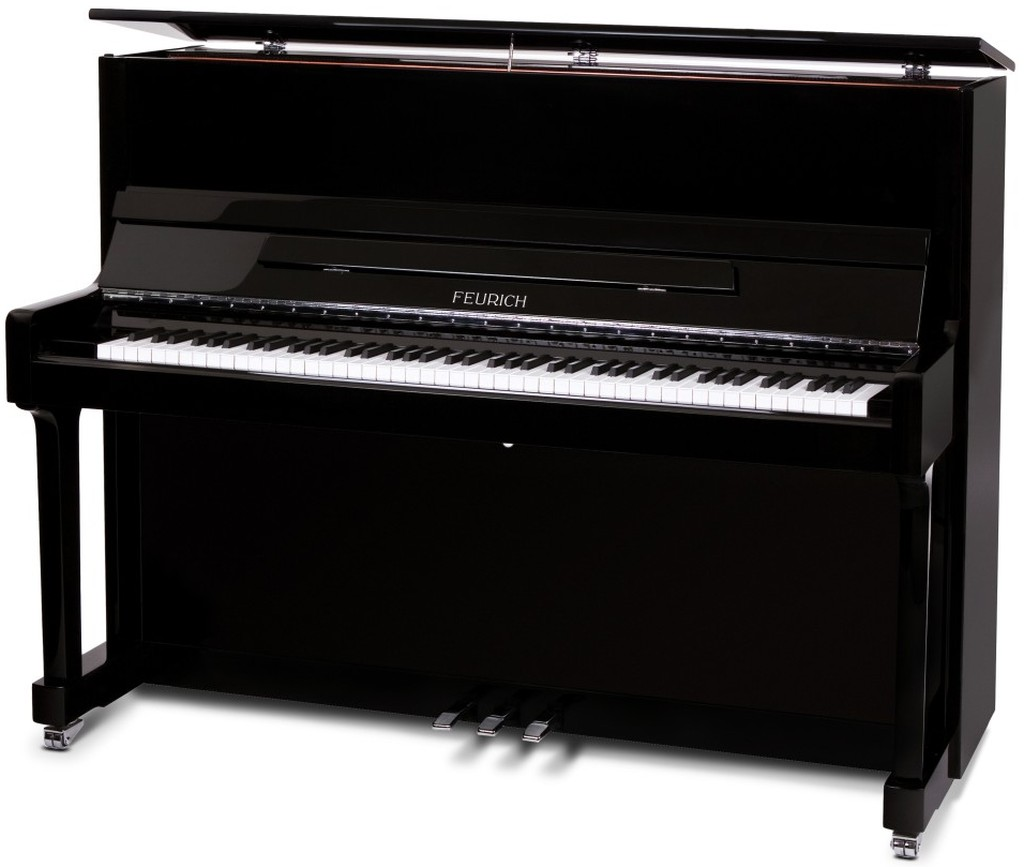 feurich 122 upright piano in black