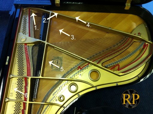 grand piano diagram showing common serial number locations