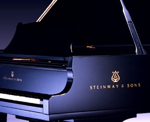 steinway grand piano in black polyester