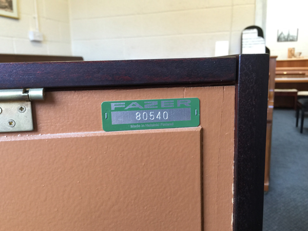 fazer piano serial numbers location on an upright piano