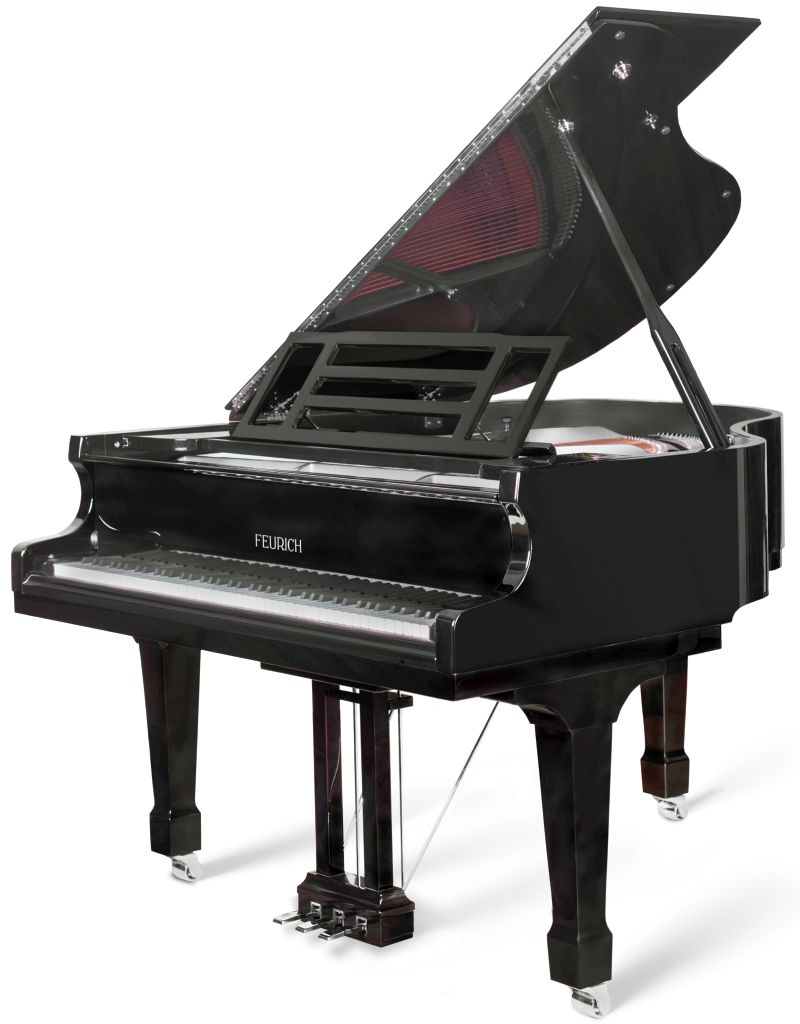 feurich 162 grand piano in black