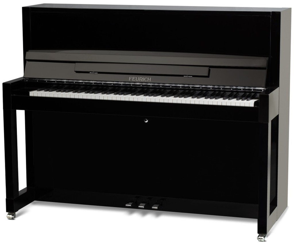 feurich 115 upright piano in black