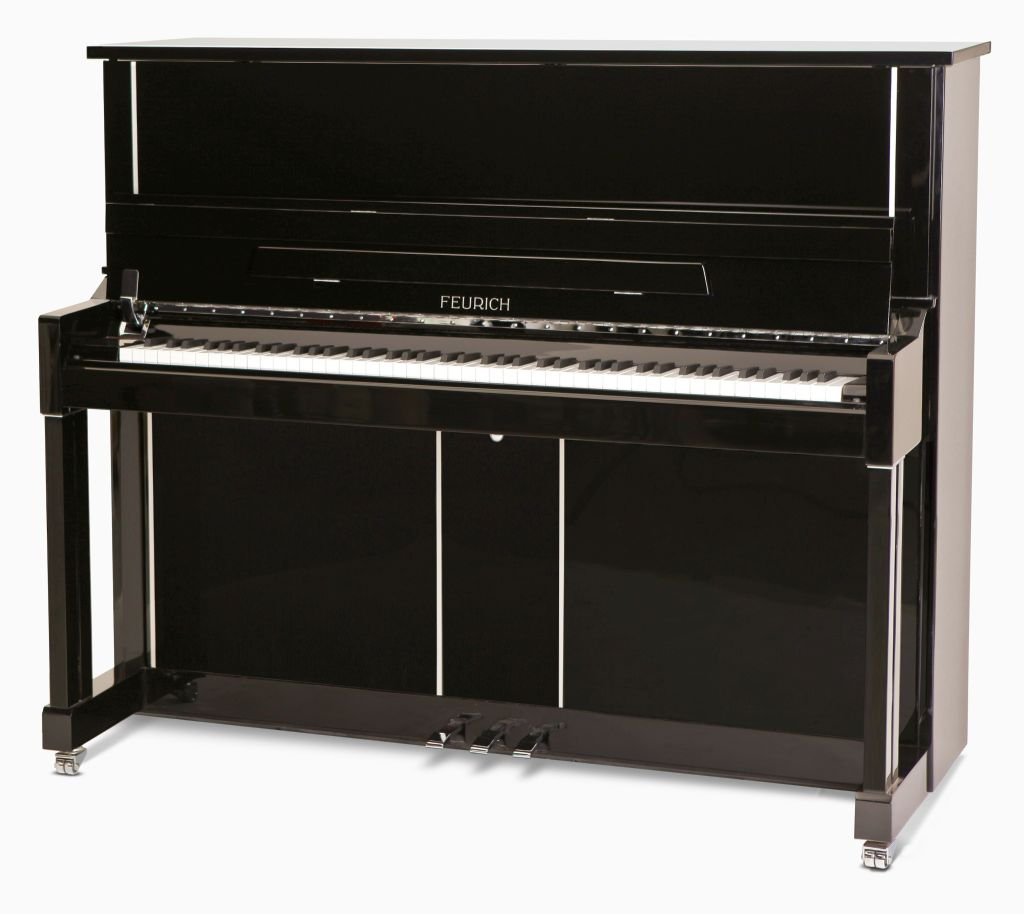 feurich 125 upright piano in black