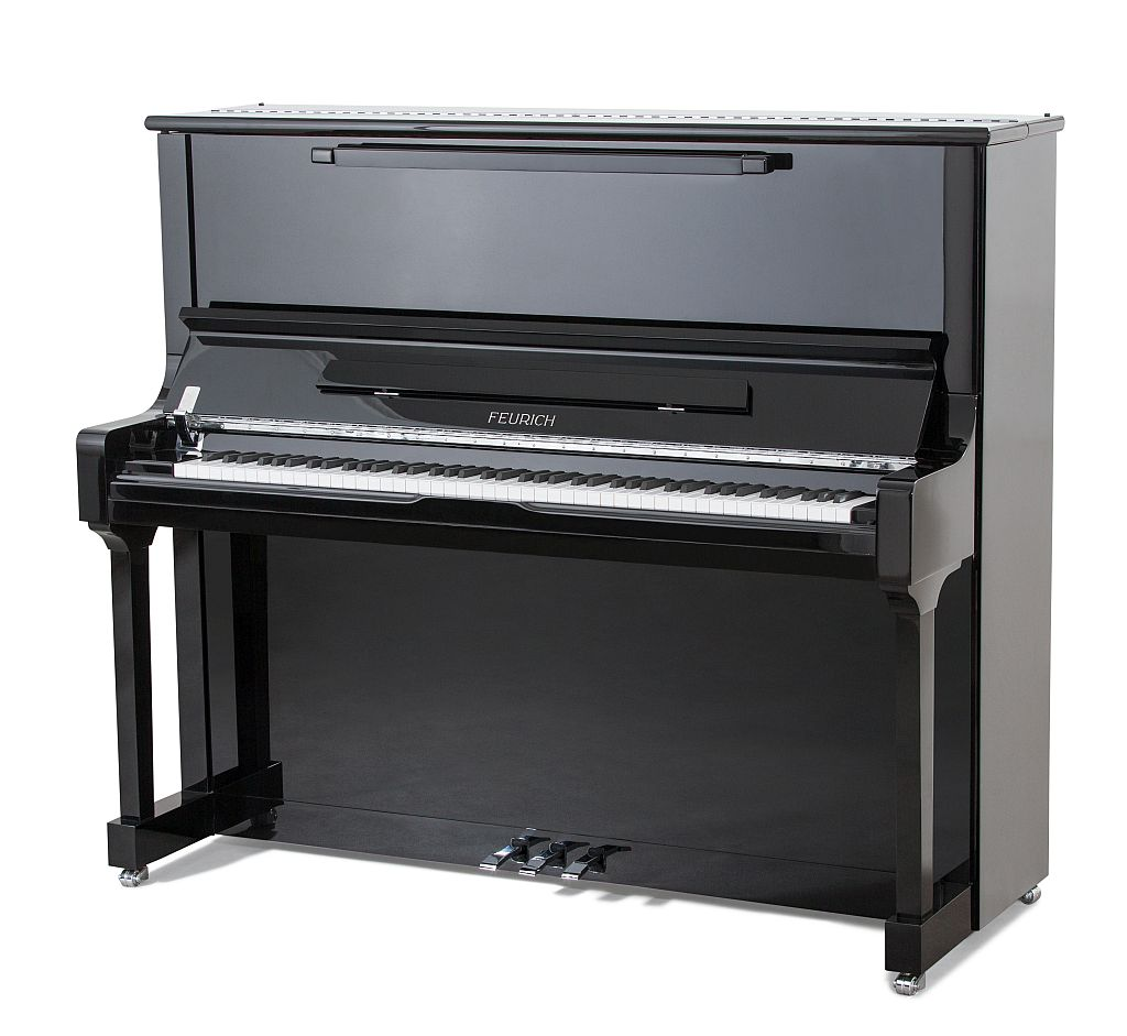 feurich 133 upright piano in black
