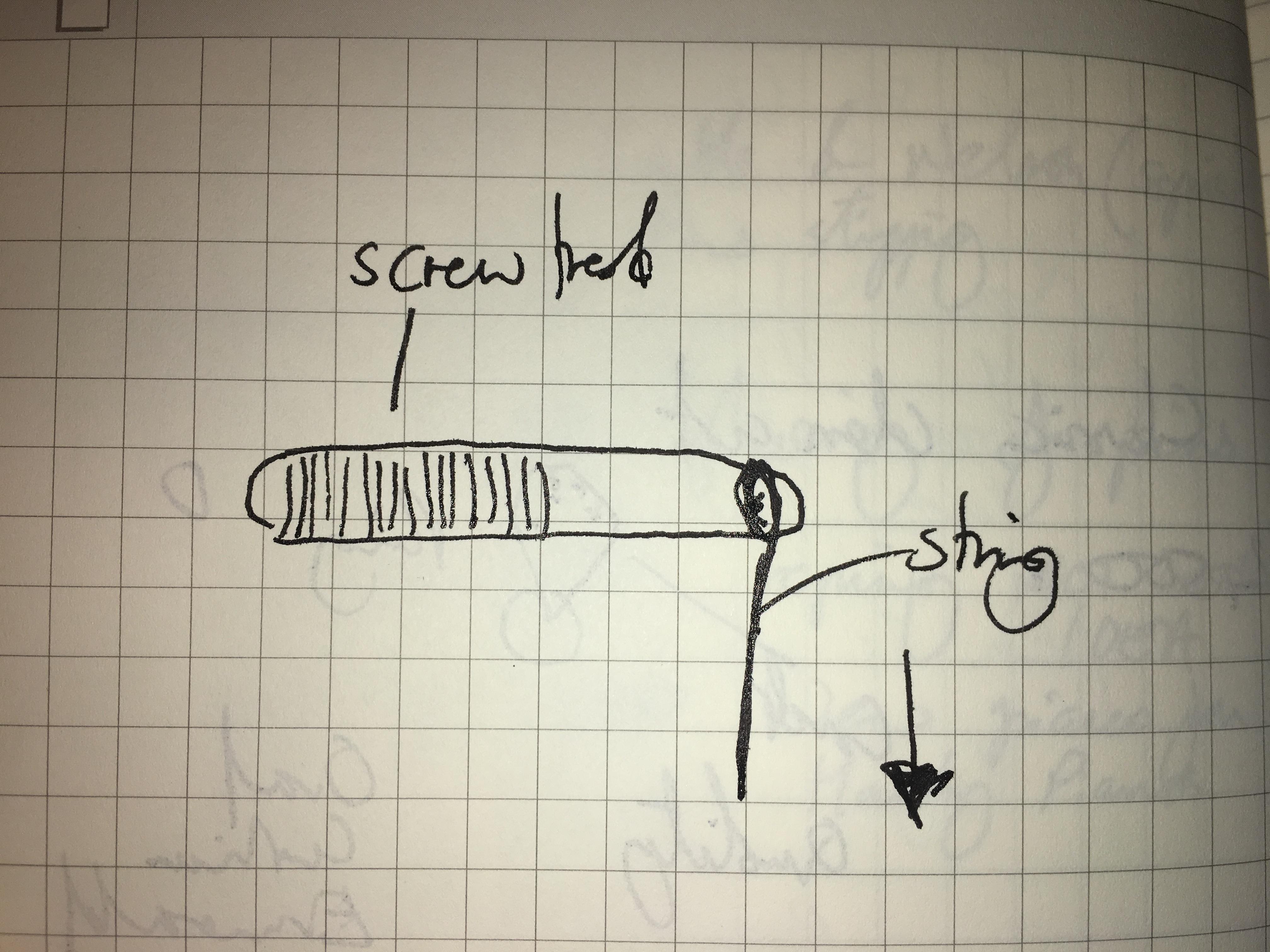 Basic diagram of a piano tuning pin.