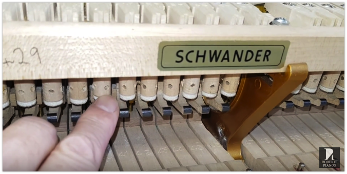Grand piano let-off regulation