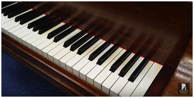 Piano keys on a Steinway model M grand piano