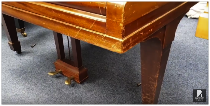 A Steinway model M casework needs refinishing